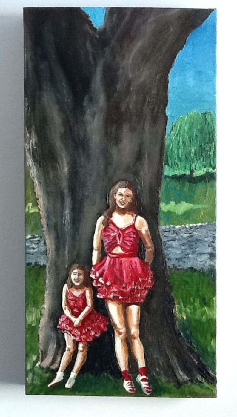 Cousins By The Tree 1955 Oil Painting image 0