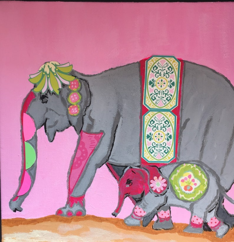 Festive Pink and Green Elephant Original Painting Collage image 0