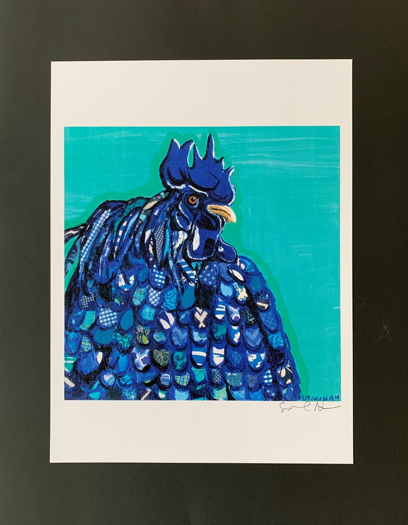 Blue Hen Digital Print From Original Collage Painting image 0