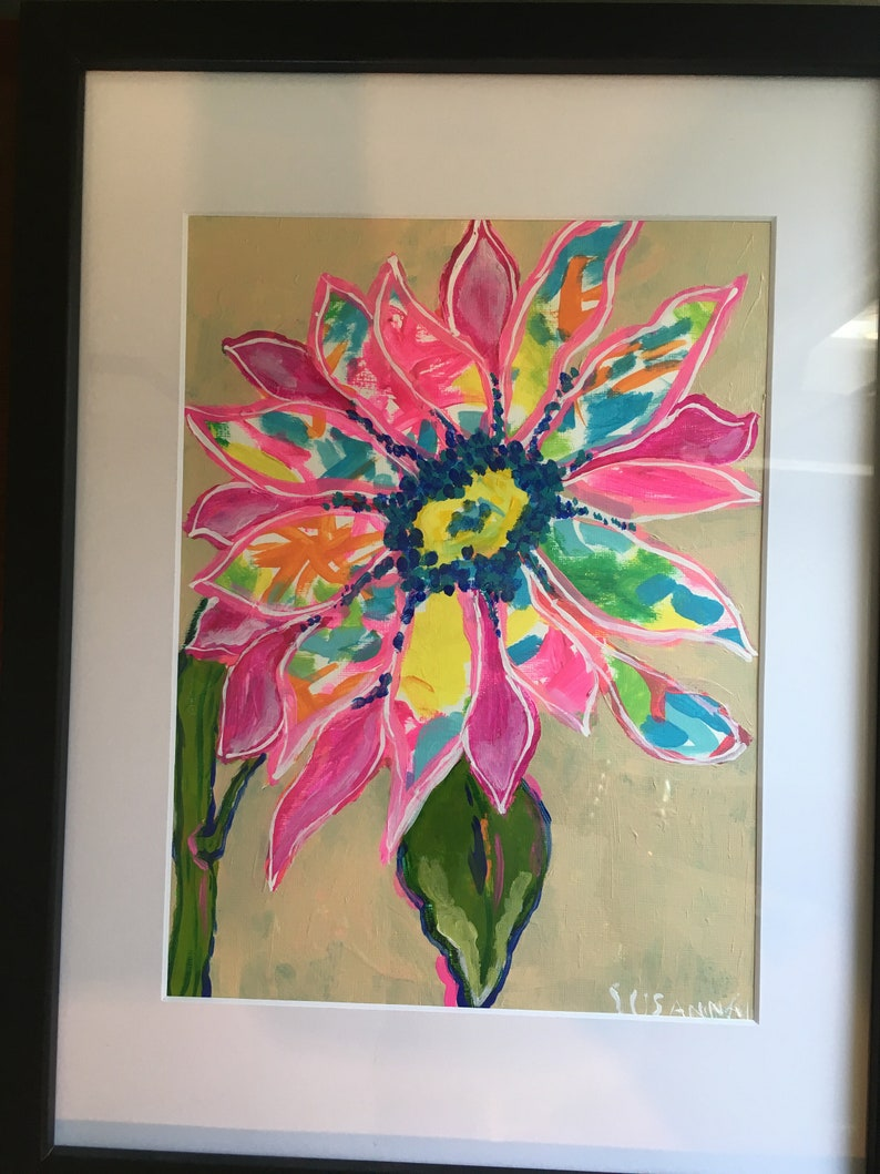 Mystery Sunflower Original Acrylic Painting 100 Flowers in 100 image 0