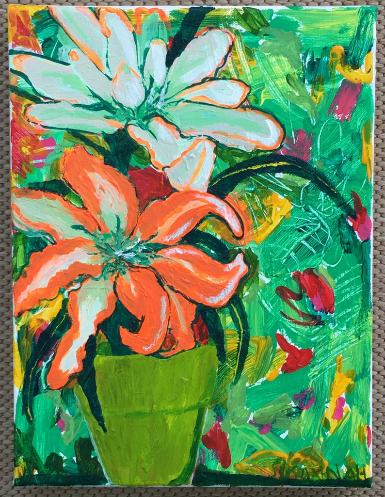 Two Lilies Original Acrylic Painting 100 Flowers in 100 Days image 1