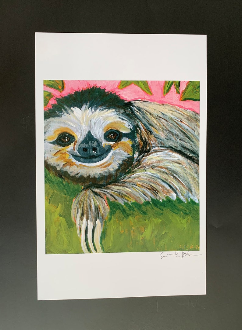 Silly Sloth Limited Edition Print from Original Painting image 0