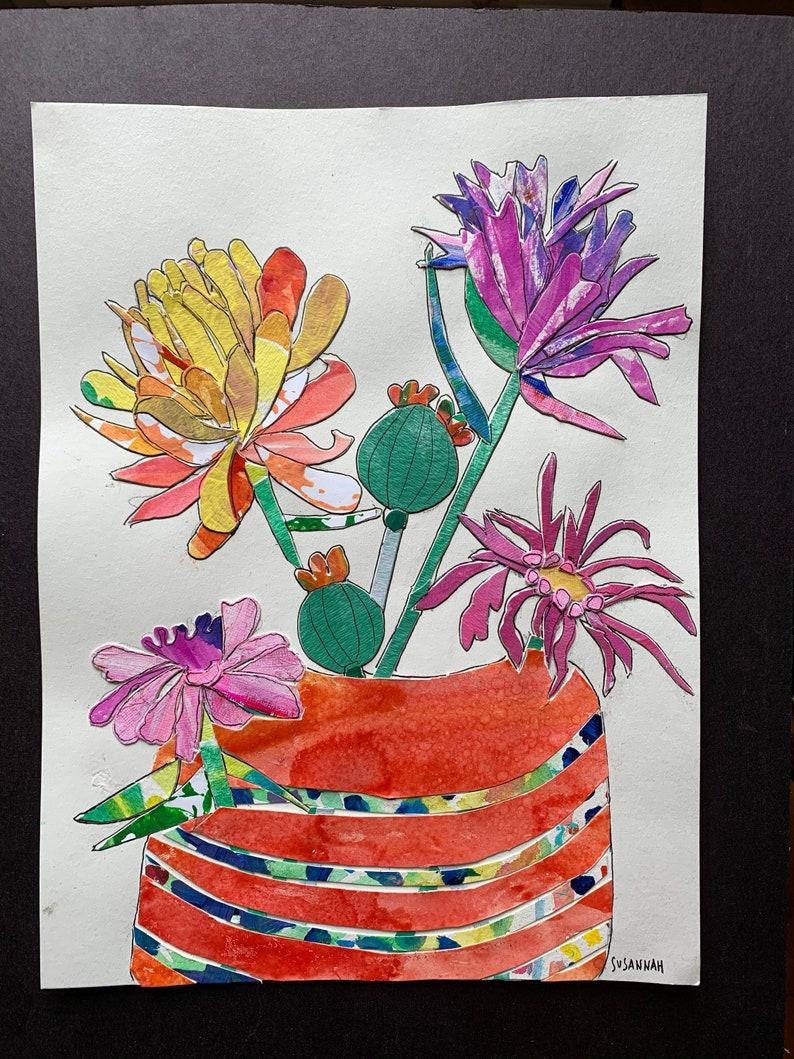 Flower Bouquet in Orange Vase Original Ink and Paper image 0