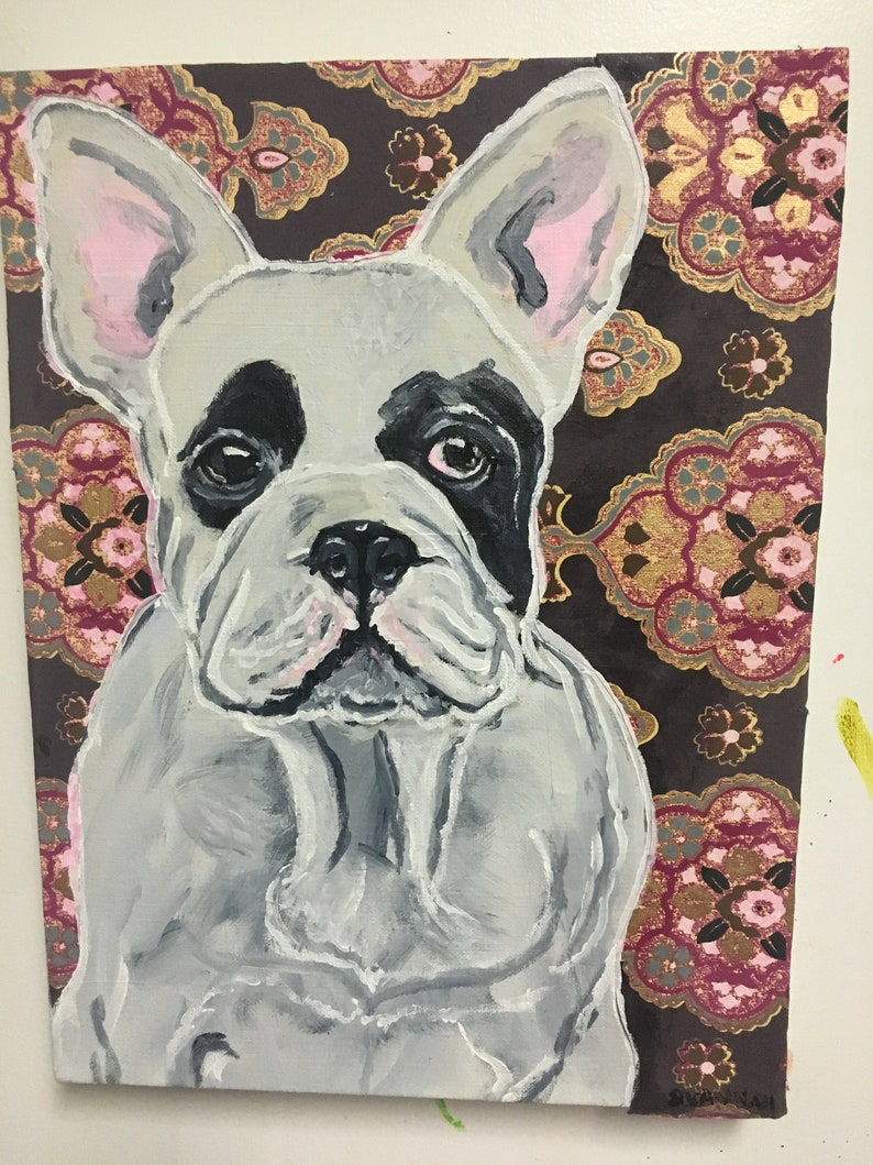 Frenchie on Brown Chair Acrylic Painting/Collage Portrait image 0