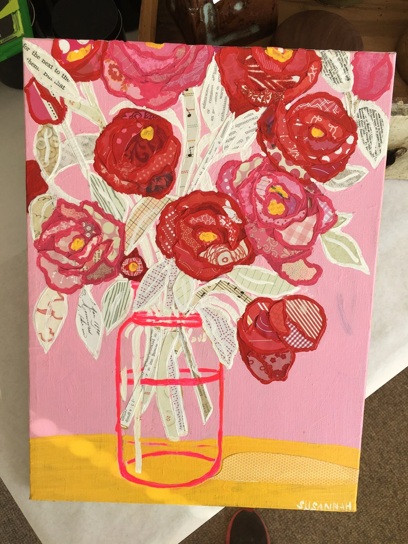 My Little Pinky Original Acrylic Painting 100 Flowers in 100 image 0