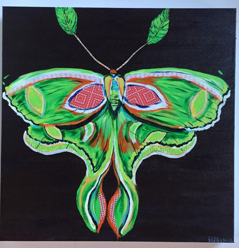 Luna Moth Original Painting Collage image 0