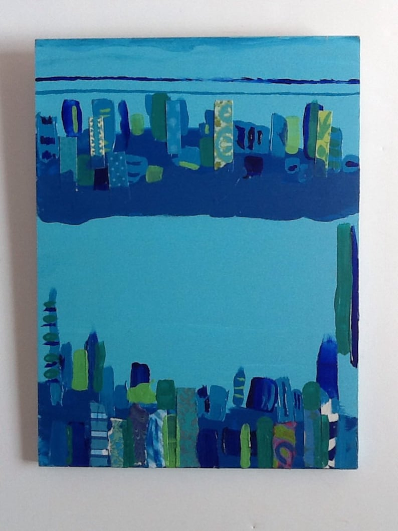 Blues and Jade Cityscape Acrylic Painting Colllage image 0
