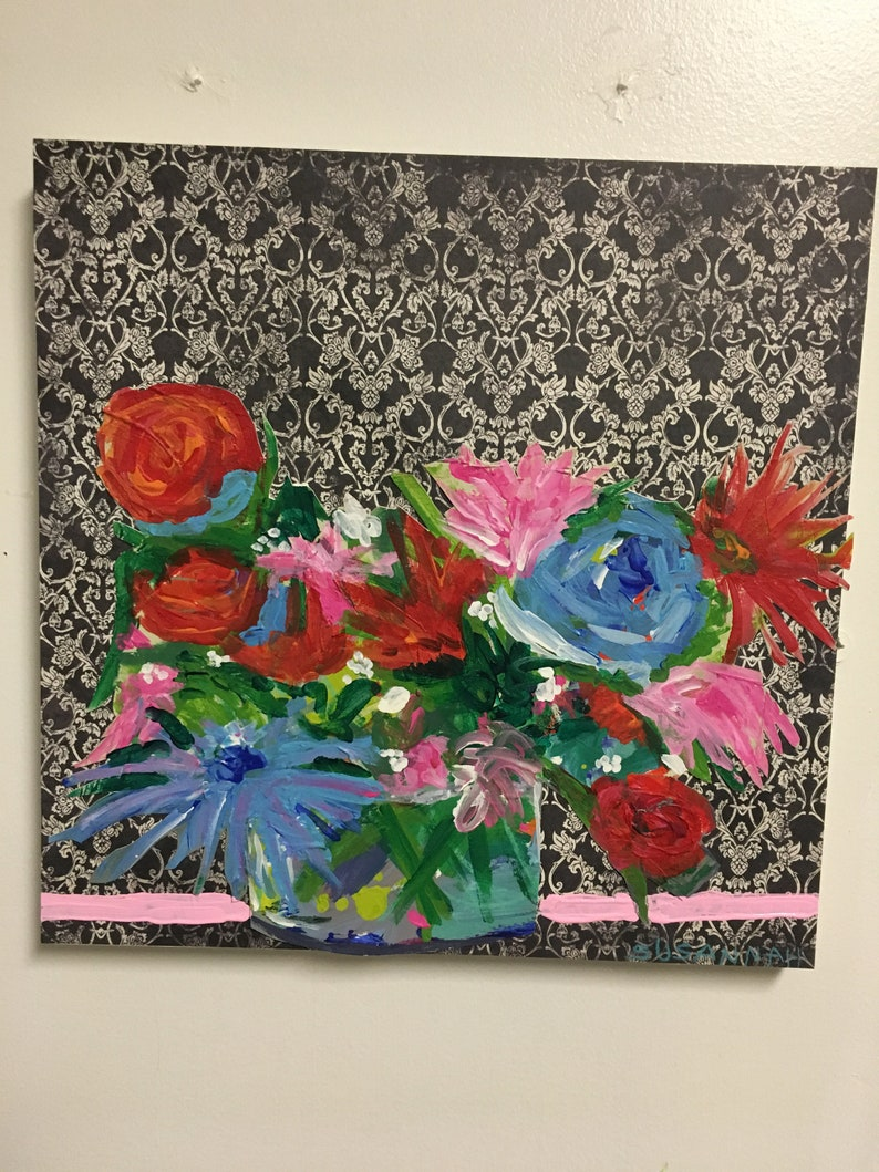 Bright on Baroque Original Acrylic Painting 100 Flowers in 100 image 1