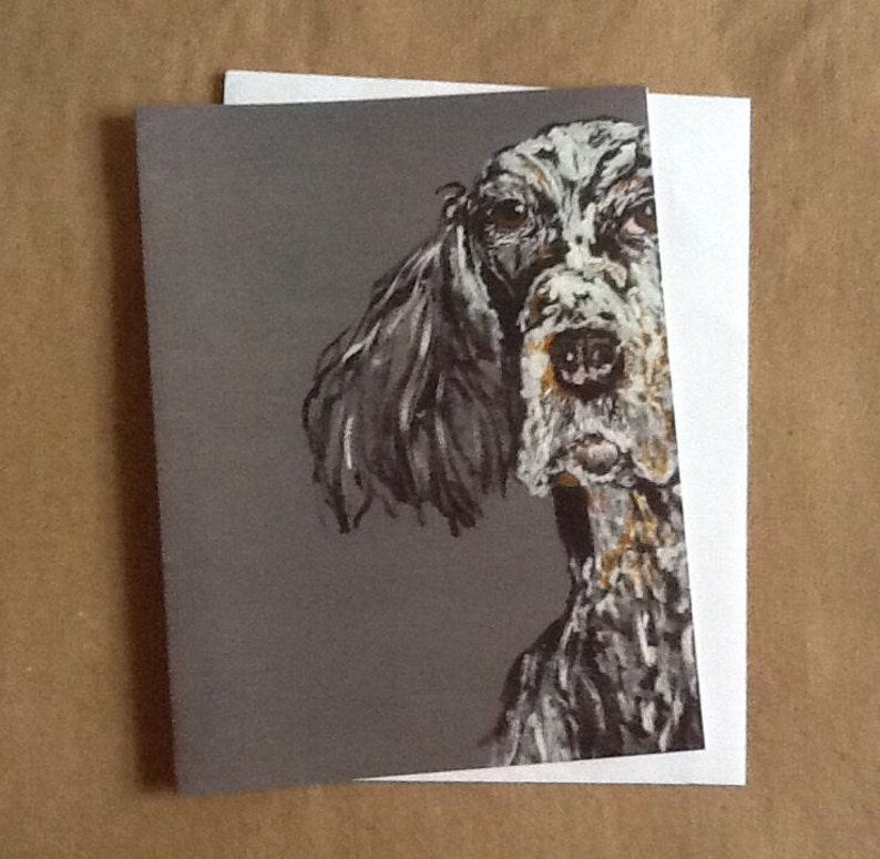 Theodore Spaniel Single Notecard from Original Painting image 0