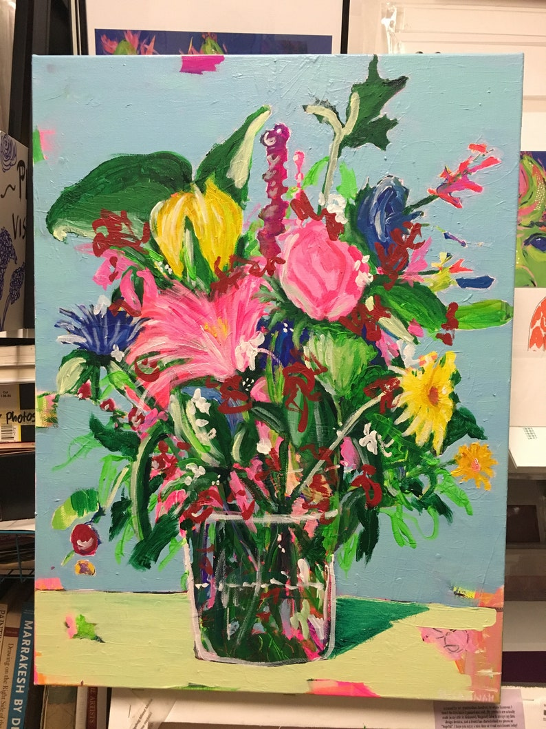 Lost In Translation Original Acrylic Painting 100 Flowers in image 0
