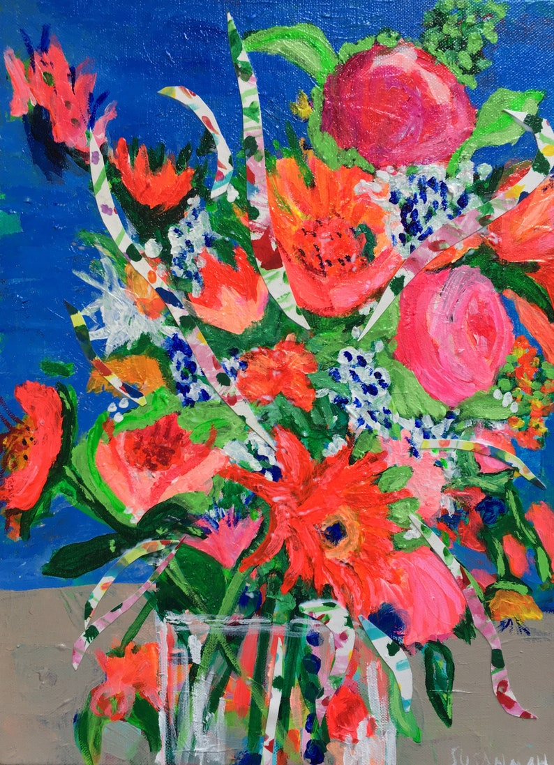 At Last Original Acrylic Painting Collage 100 Flowers in 100 image 0