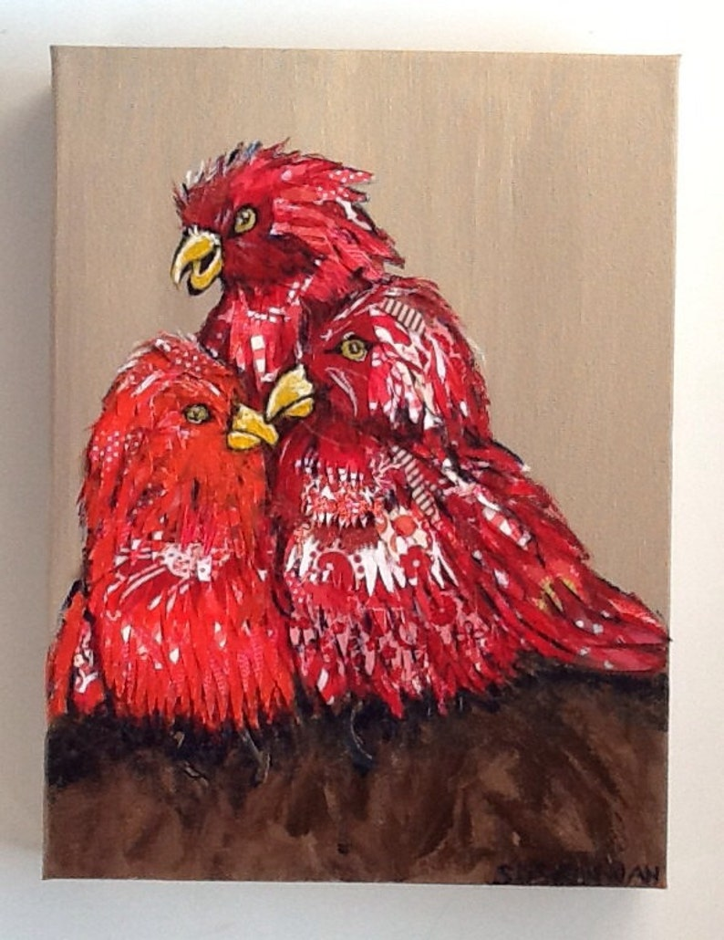 Red Fairy Lories Birds Original Collage Painting image 0