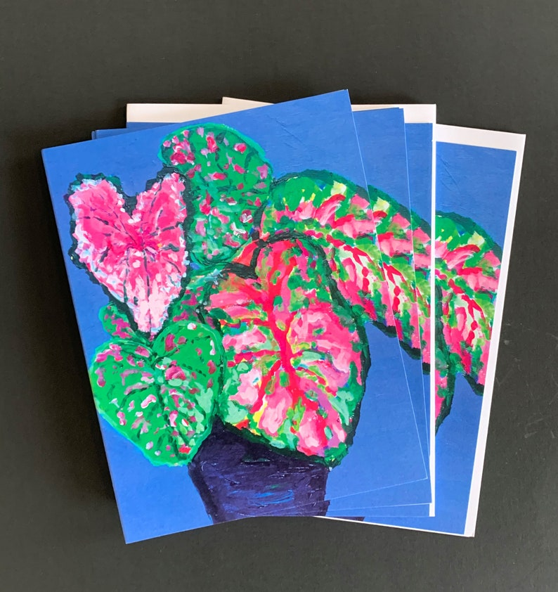 Triple Caladium Note Card Set From Original Acrylic Painting image 0