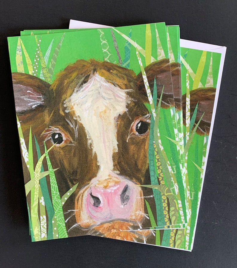 Bessie Cow Notecard Set from Original Painting Collage image 0