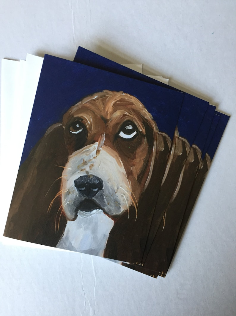 Not Unhappy Basset Hound Single Notecard from Original image 0