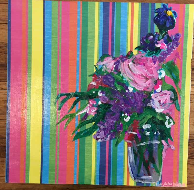 Inside/Outside Original Acrylic Painting 100 Flowers in 100 image 0