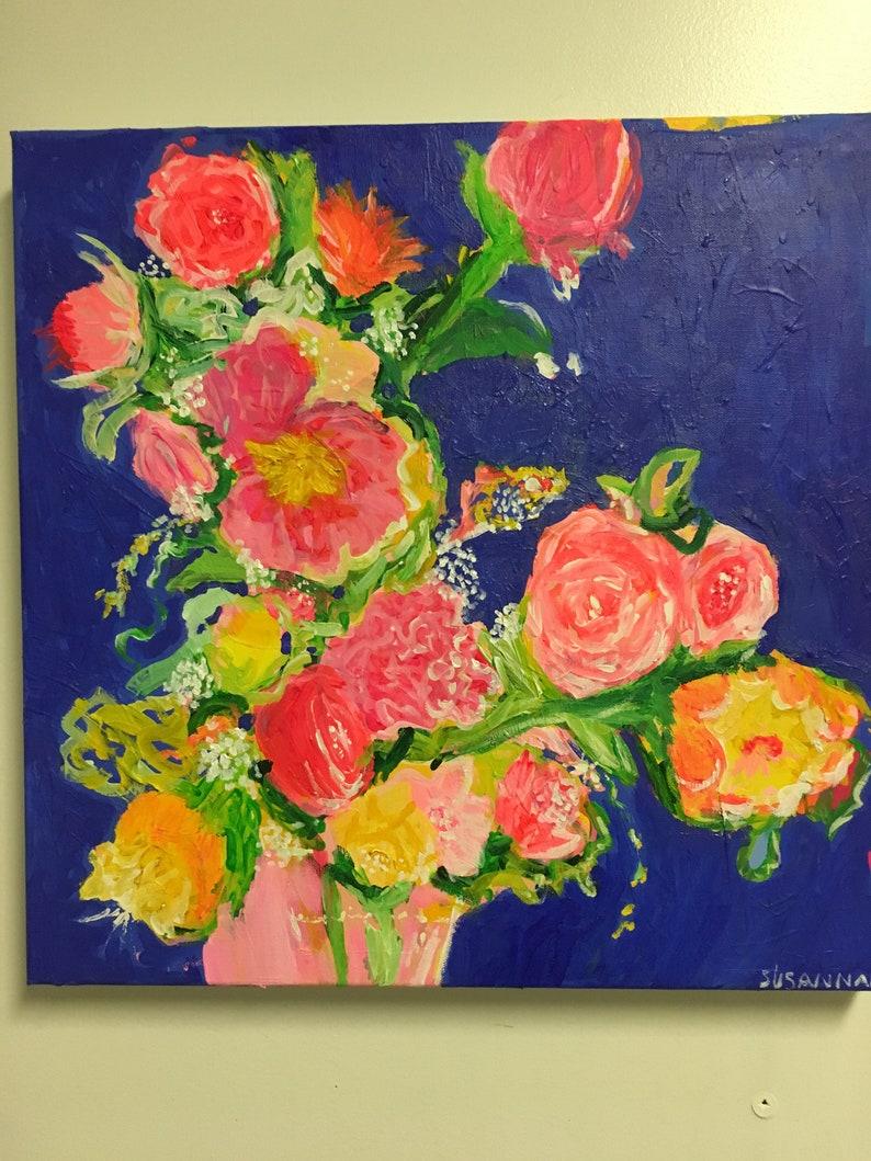 Modern Vintage Original Acrylic Painting 100 Flowers in 100 image 1