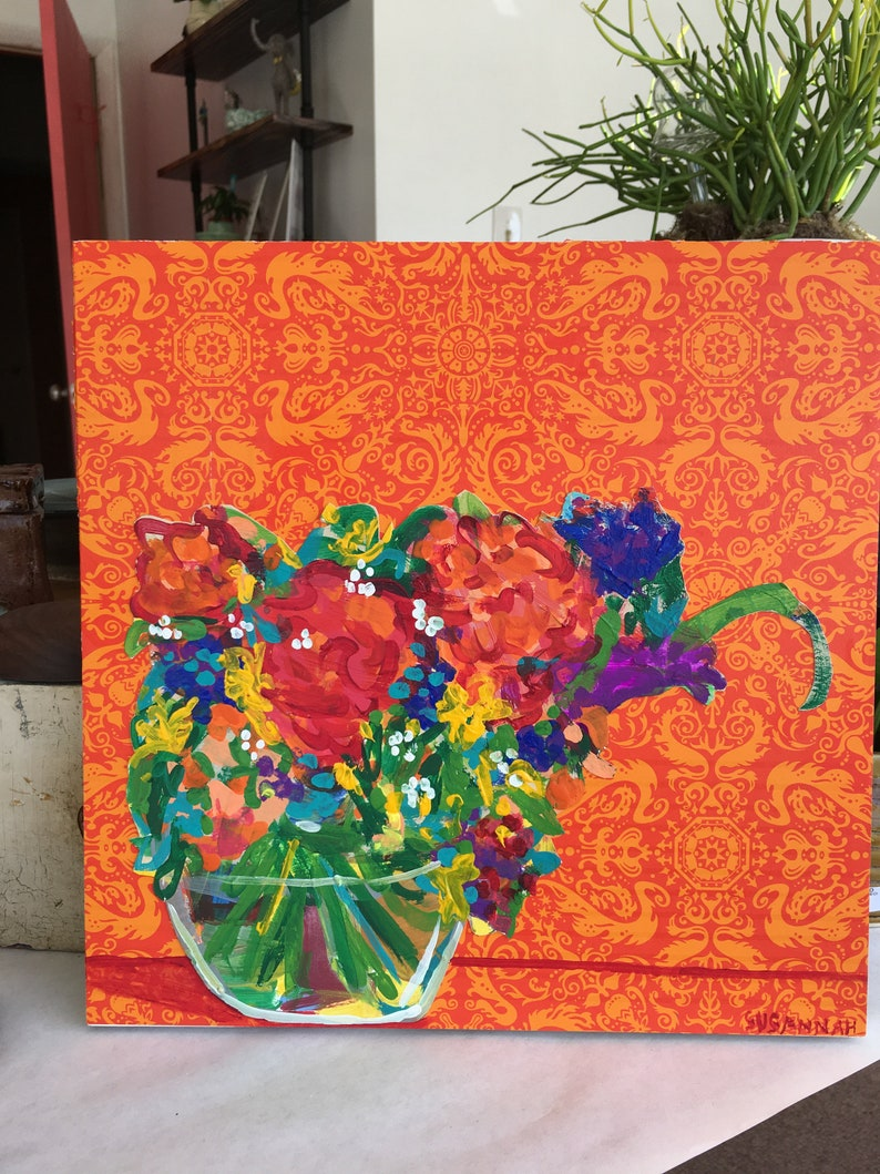Hunger Pangs Original Acrylic Painting 100 Flowers in 100 Days image 0