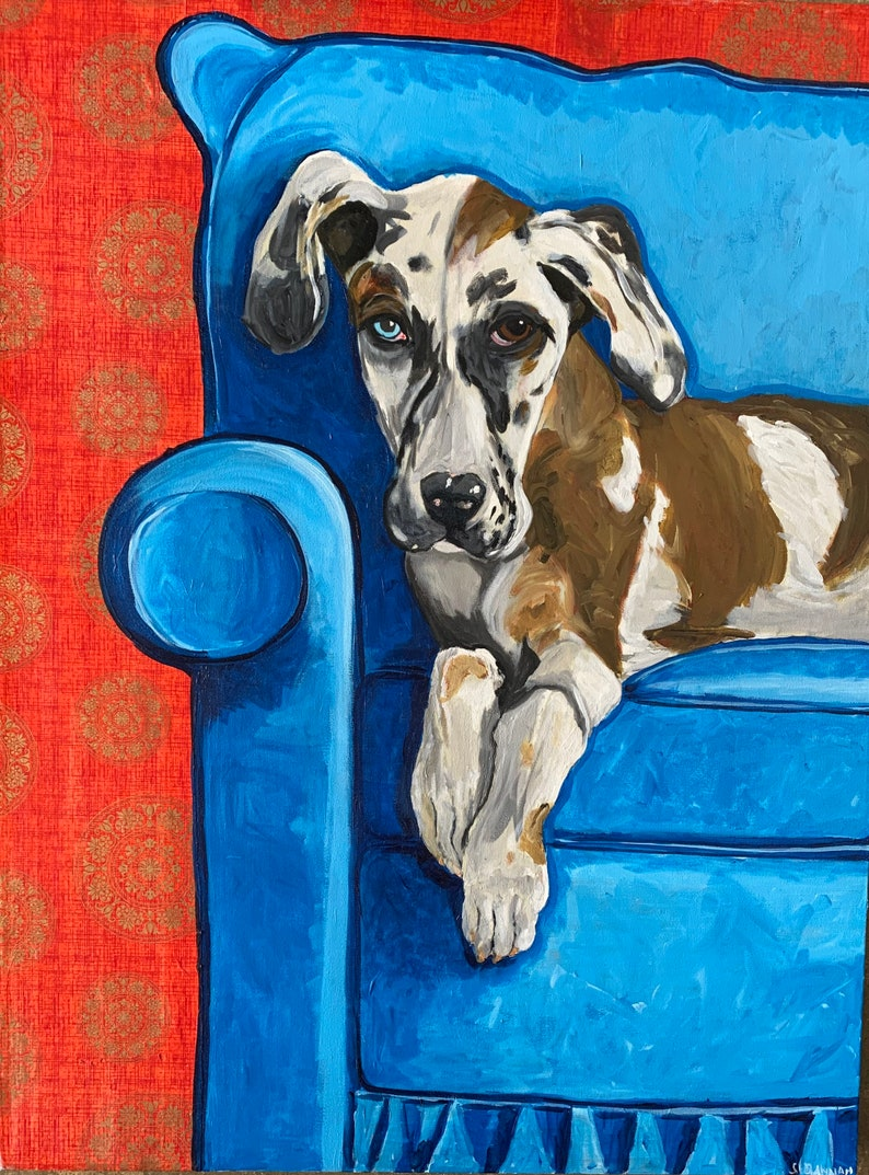 Great Dane Puppy on Red Chair Painting Paper Collage image 0