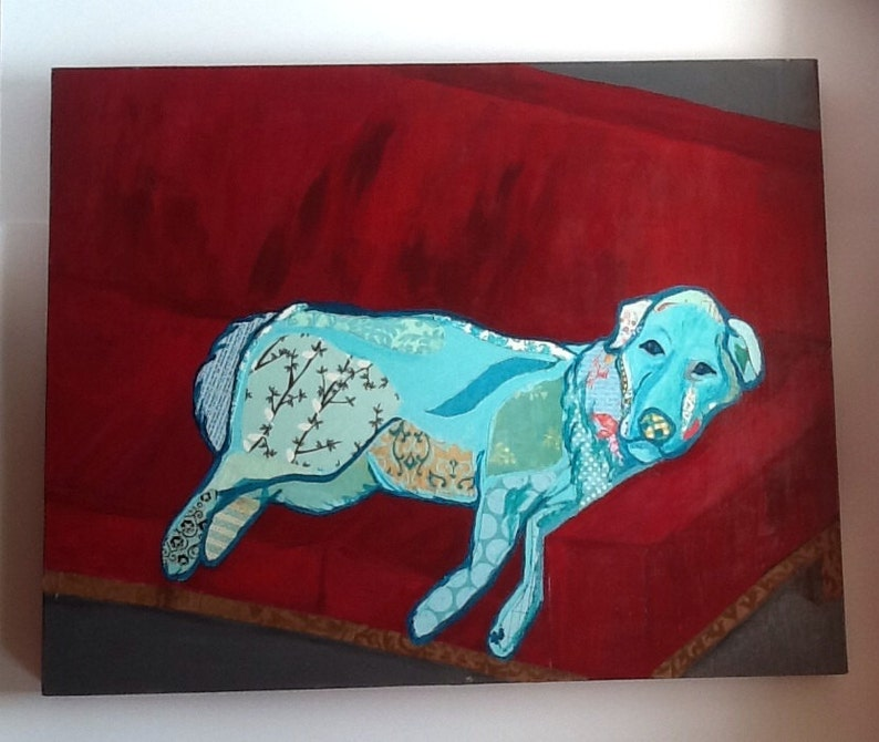Robins Egg Blue Dog Retriever Paper Collage Red Couch Child image 0