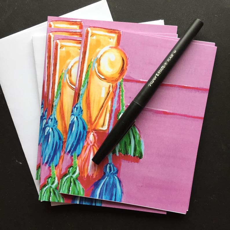Pink Door with Colored Tassels Notecard Set from Original image 0