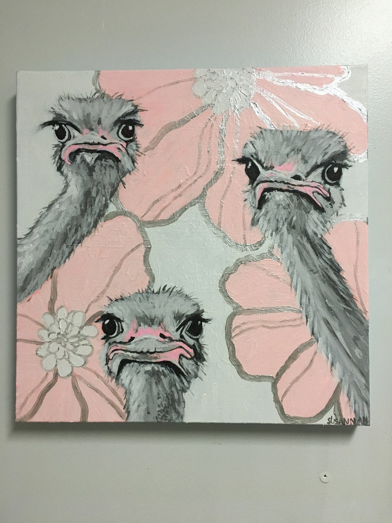 But We Wanted Tulips Original Acrylic Painting with Ostriches image 1