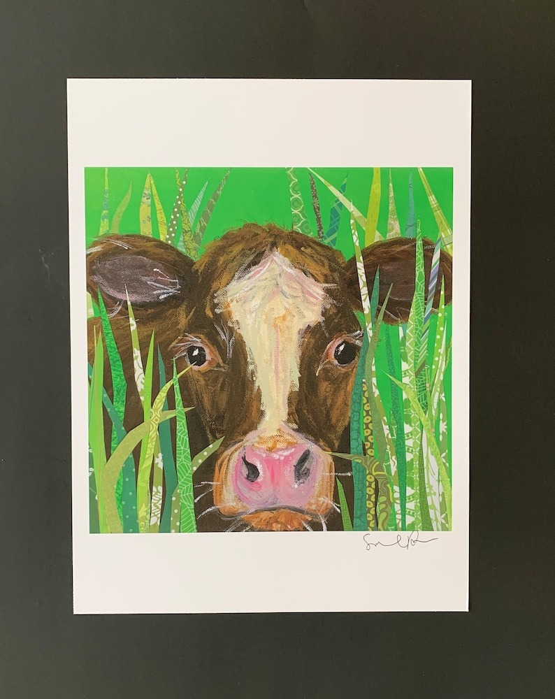 Essie Cow Limited Edition Print From Original Painting Collage image 0