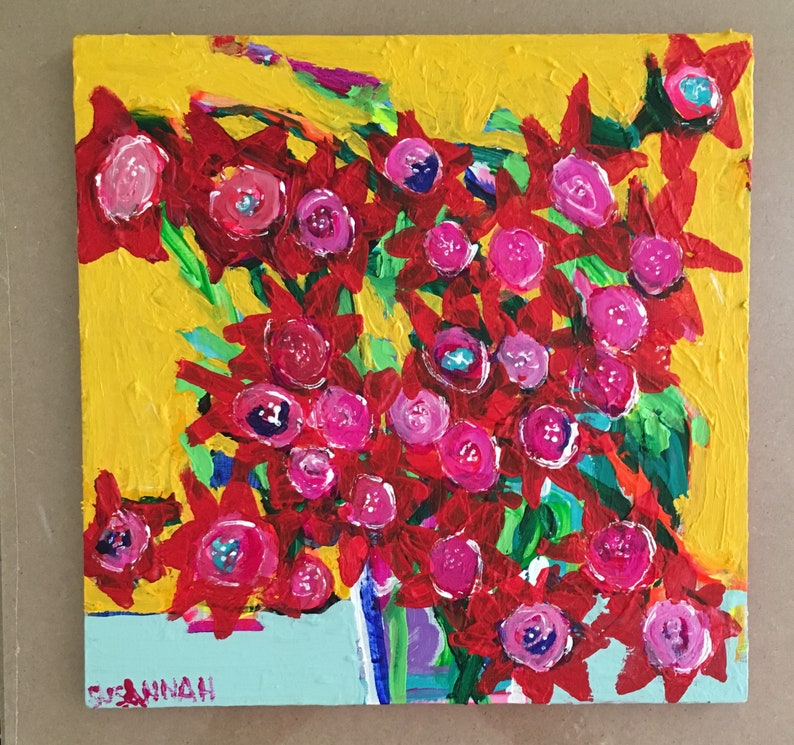 Red Star Original Acrylic Painting 100 Flowers in 100 Days 43 image 0