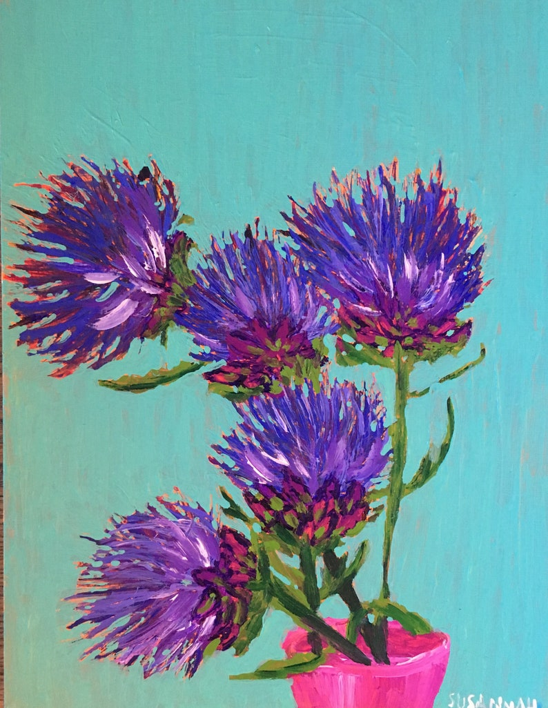 Outlander Original Acrylic Painting 100 Flowers in 100 Days 44 image 1