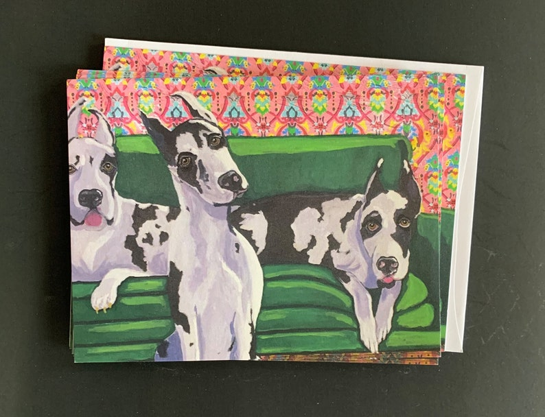 Danes on Green Couch Notecard Set From Original Painting image 0