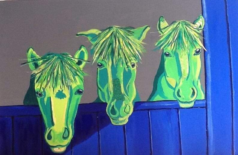 Horse Trio in Stall Original Painting Collage image 0