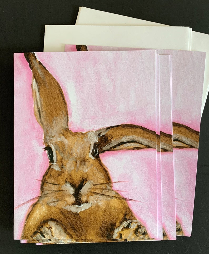 Another Bunny on Pink Notecard Set from Original Painting image 0