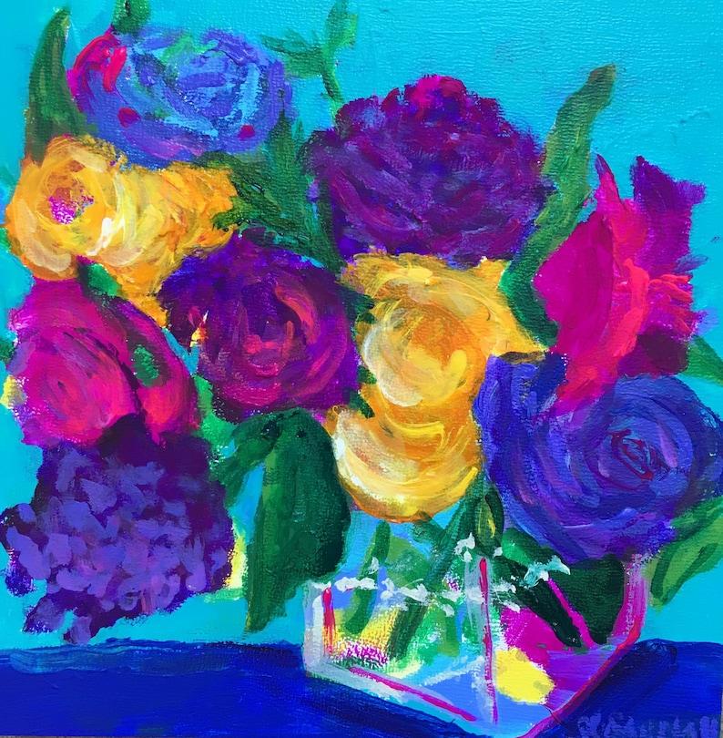 Lushy Original Acrylic Painting 100 Flowers in 100 Days 54 image 0