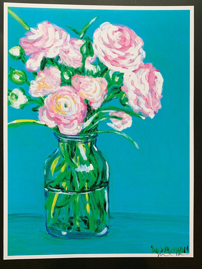 Pink Ranuncula Limited Edition Print from Original Painting image 0