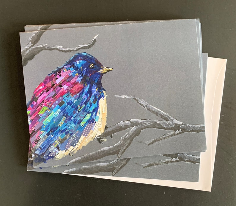 Little Blue Bird Notecard Set from Original Painting Collage image 0
