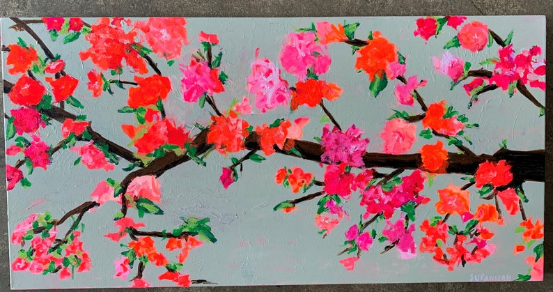 Fall Over Original Acrylic Painting 100 Flowers  77 image 0