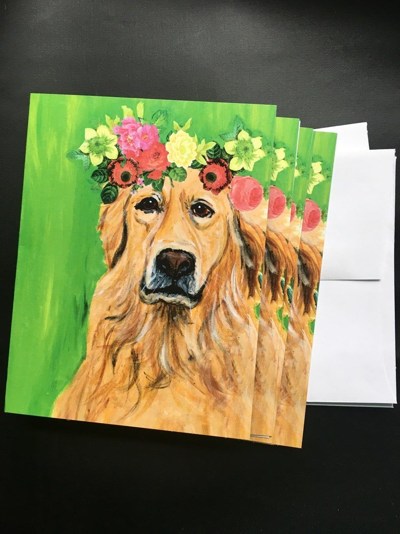 Golden Girl  Note Card Set from Original Acrylic image 0