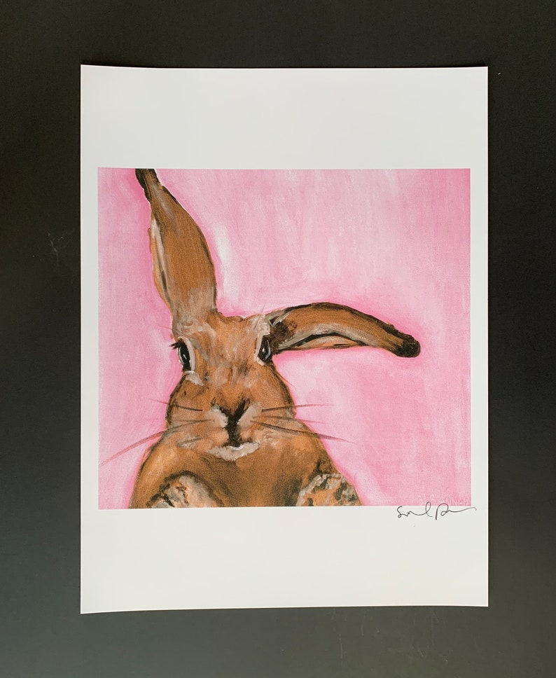 Another Bunny on Pink Limited Edition Print from Original Oil image 0