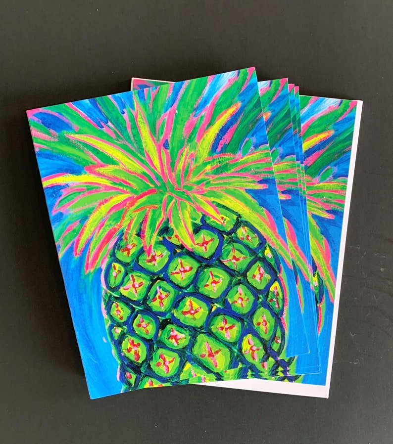 Truly Happy Pineapple Note Card Set From Original Acrylic image 0