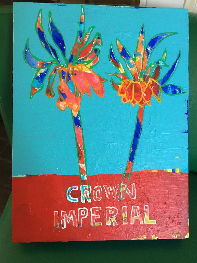Crown Imperial Original Acrylic Painting 100 Flowers in 100 image 0