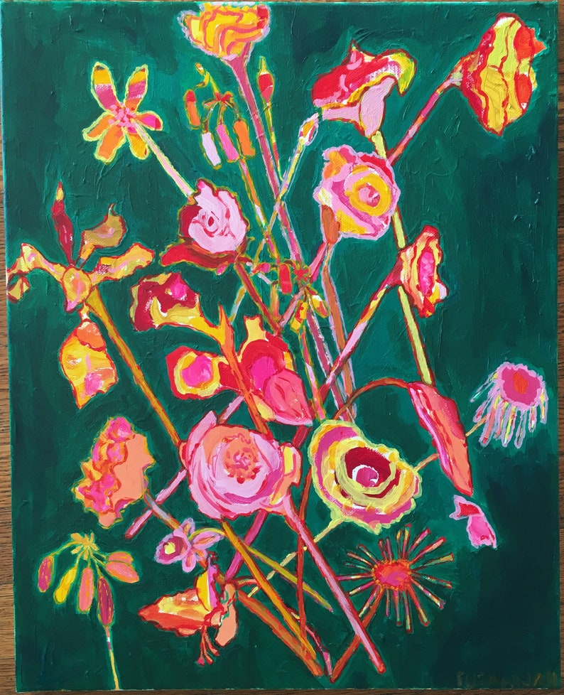 New Again Original Acrylic Painting 100 Flowers in 100 Days 20 image 1
