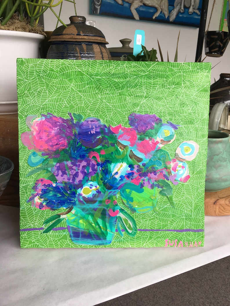 Purples on Green Original Acrylic Painting 100 Flowers in 100 image 0