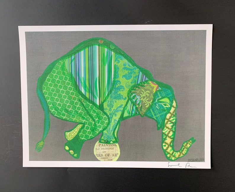 Green Balancing Elephant Collage Digital Print From Original image 0