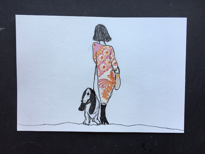 Girl with Orange and Pink Dress and Basset Hound Illustration image 0