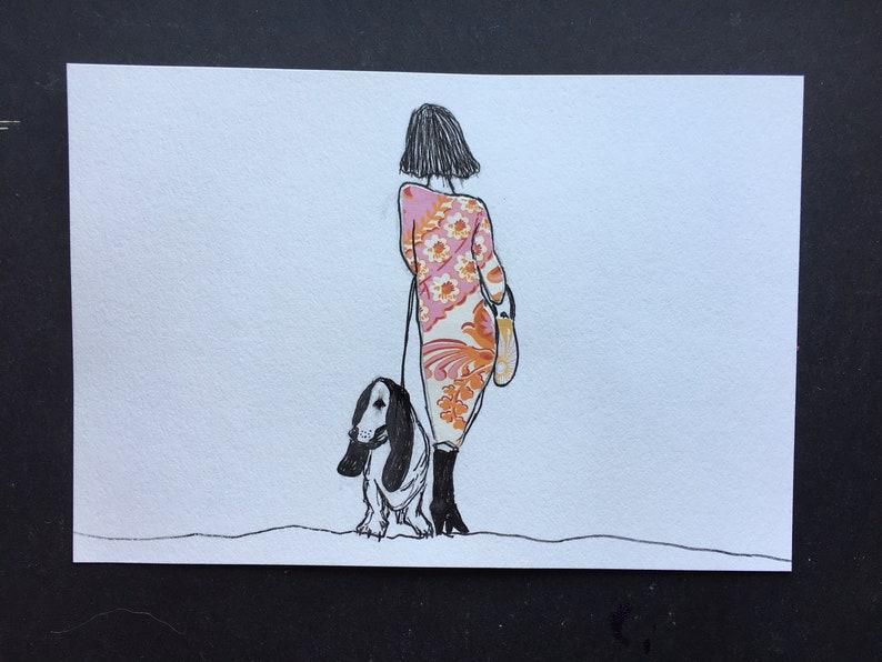 Girl with Orange and Pink Dress and Basset Hound Illustration image 0