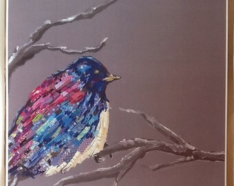 Bluebird With Paper Feathers Limited Edition Print from Original Painting Collage