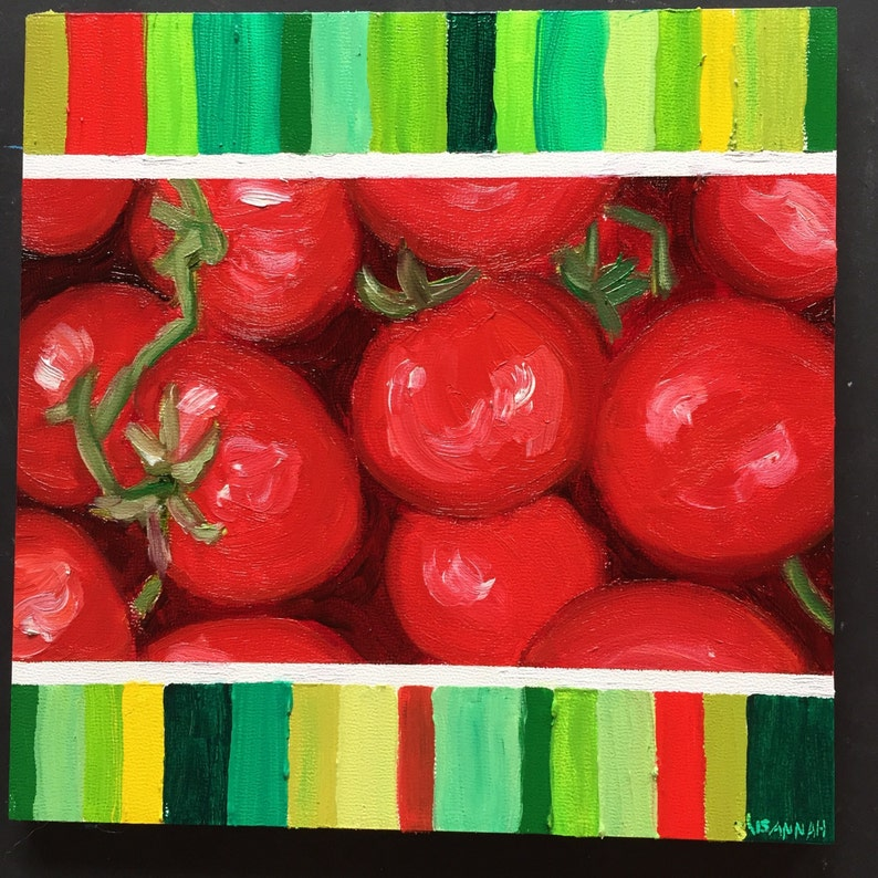 Summer Tomatoes Color Chart Original Oil Painting Daily image 0