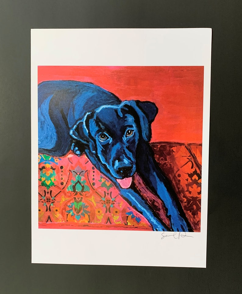 Black Lab on Rug Limited Edition Print From Original Painting image 0