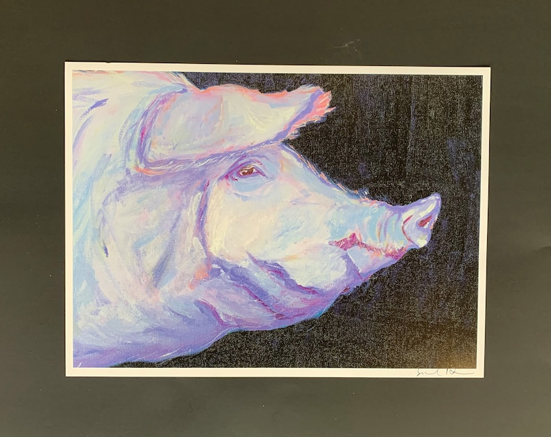Lavender Pig Profile Limited Edition Print from Original image 0