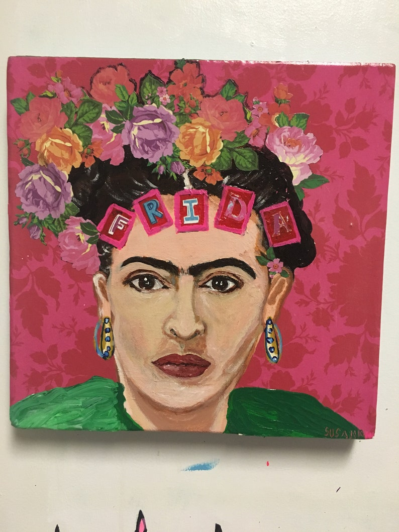 Frida 1 Acrylic Painting/Collage Portrait in Pinks and Greens image 0